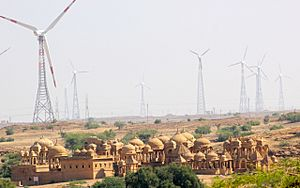 A Wind Energy farm and the Cenotaphs, the ancient and the modern, Jaisalmer Rajasthan India
