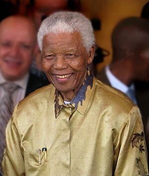 Nelson Mandela on his 90th birthday in Johannesburg, South Africa, in May 2008.