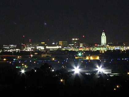 Nighttime skyline of downtown Lincoln, Nebraska, USA (2015, from Arnold Heights Park)