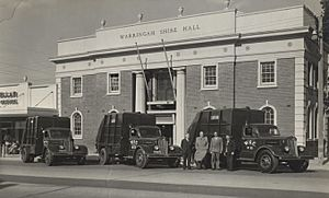 Warringah Shire Council 'Sanivans' outside the Shire Hall, 1954