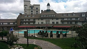 Inn At Pocono Manor Pool & Front of Main Building
