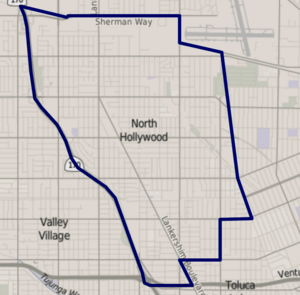 Map of North Hollywood, Los Angeles, California