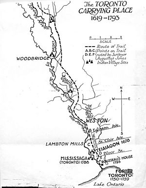 Map of the Lower Humber River and the Toronto Carrying Place trail, showing Native villages