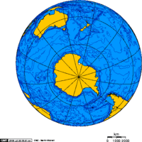 Orthographic projection centred over Ross Island
