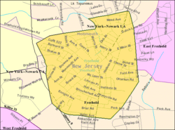 Census Bureau map of Freehold Borough, New Jersey