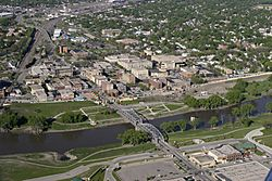Aerial view of downtown Grand Forks in 2006.