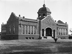 Front exterior of Anaheim High School, ca.1900 (CHS-2815)