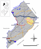 Map of Independence Township in Warren County. Inset: Location of Warren County highlighted in the State of New Jersey.