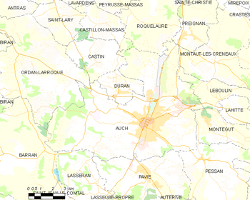 Map of the commune of Auch