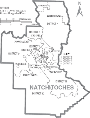 Map of Natchitoches Parish Louisiana With Municipal and District Labels