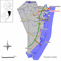 Map of Point Pleasant in Ocean County. Inset: Location of Ocean County highlighted in the State of New Jersey.