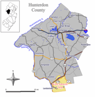 Map of West Amwell Township in Hunterdon County. Inset: Location of Hunterdon County highlighted in the State of New Jersey.