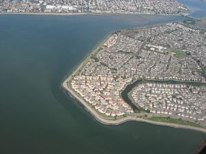 Aerial view of Bay Farm Island and San Leandro Channel