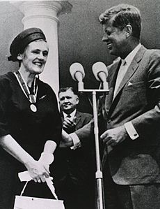 Frances Oldham Kelsey and John F. Kennedy