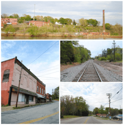 Top, left to right: Ruins of the Piedmont Number One overlooking the Saluda River, Main Street, Railroad, Piedmont Highway
