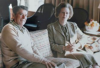 Thatcher Reagan Camp David sofa 1984