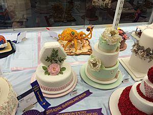 Cake icing competition with traditional and novelty designs, Ekka, Brisbane, 2015