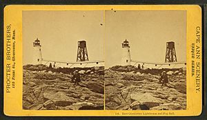 East Gloucester lighthouse and fog bell, by Procter Brothers