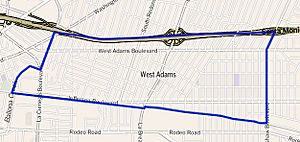 Map of West Adams, Los Angeles, California