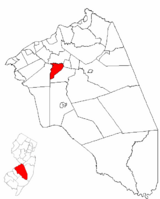 Hainesport Township highlighted in Burlington County. Inset map: Burlington County highlighted in the State of New Jersey.