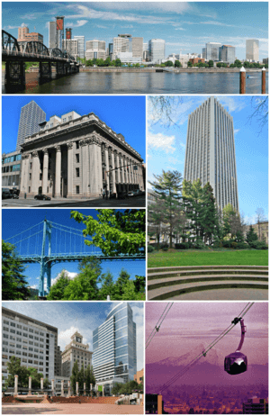 Clockwise from top: Downtown Portland viewed from east bank of the Willamette River; the Wells Fargo Center; Portland Aerial Tram and Mount Hood; Jackson Tower and Fox Tower viewed from Pioneer Courthouse Square; St. Johns Bridge; U.S. National Bank Building
