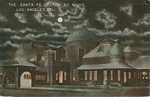 The Santa Fe Station by night, Los Angeles, Cal.