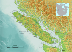 Vancouver Island, with Lasqueti Island highlighted