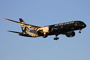 Air New Zealand Boeing 787-9 Dreamliner landing at Perth Airport