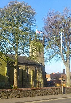 Christ Church Coalville, pictured on Saint George's Day, April 23rd 2014