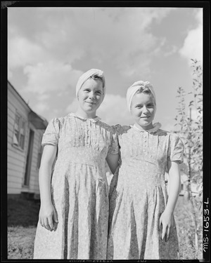 Twin daughters of miner. Koppers Coal Division, Kopperston Mine, Kopperston, Wyoming County, West Virginia. - NARA - 540893