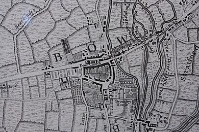 Bow as shown on John Rocque's map of London, 1747