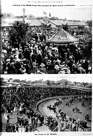 StateLibQld 2 196251 Section of the 48,000 people who crowded the Show Ground and the Crowd at the Ringside, August 1908