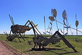 Grasshoppers in the Field sculpture