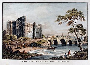Newark Castle and bridge London Published by J Deeley, 95 Bewick St Soho, 1812 Coloured aquatint
