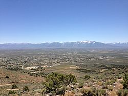 "View of Spring Creek from ""E"" Mountain, with the Ruby Mountains in the background"