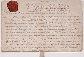 Charter for Collegiate School later Yale College 1701