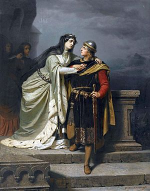 Emil Teschendorff - Queen Guinevere bidding farewell to Sir Lancelot