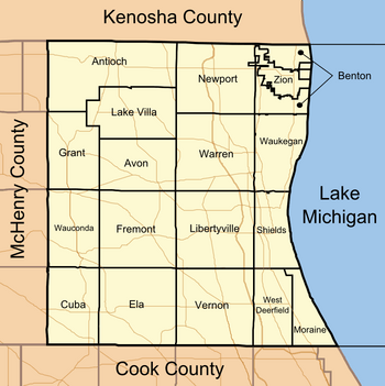 Map of Lake County Illinois showing townships