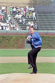 Reagan throws out opening pitch, 1988
