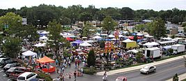 Urbana illinois farmers market seen from roof