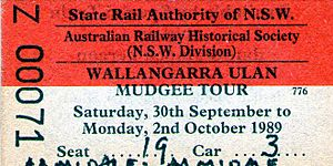 Wallangarra rail ticket 1989