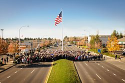 November 11, 2014 Dedication of Downtown Flag and Veterans Way.  Flag raised by U.S. Senator Patty Murray, King County Councilmember Pete von Reichbauer, Mayor Jim Ferrell, City Council, Bob Kellogg and hundreds of community members.