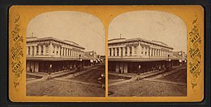 Main Street, Stockton, California, from Robert N. Dennis collection of stereoscopic views