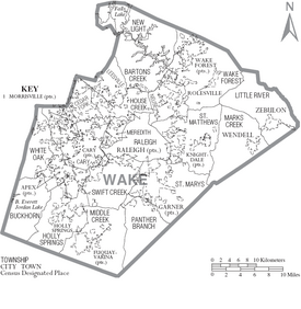 Map of Wake County North Carolina With Municipal and Township Labels