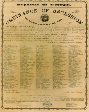Ordinance of Secession Milledgeville, Georgia 1861