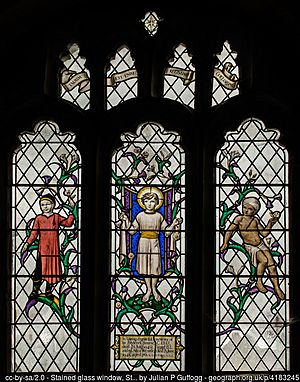 Stained glass window, St Dunstan's church, Mayfield in memory of Sir Frederick Bourne