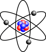Stylised atom with three Bohr model orbits and stylised nucleus