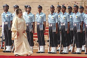 The Prime Minister of Bangladesh, Ms Khaleda Zia inspecting Guard of Honour at a Ceremonial Reception, in New Delhi on March 21, 2006