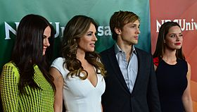 Alexandra Park, Elizabeth Hurley, William Moseley & Merritt Patterson 2015 TCA Press Tour (cropped)