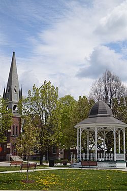 Barre City park gazebo and church.JPG
